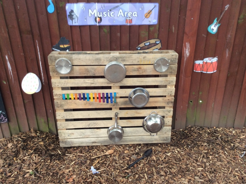 Outdoor classroom-music area and hedgehogs